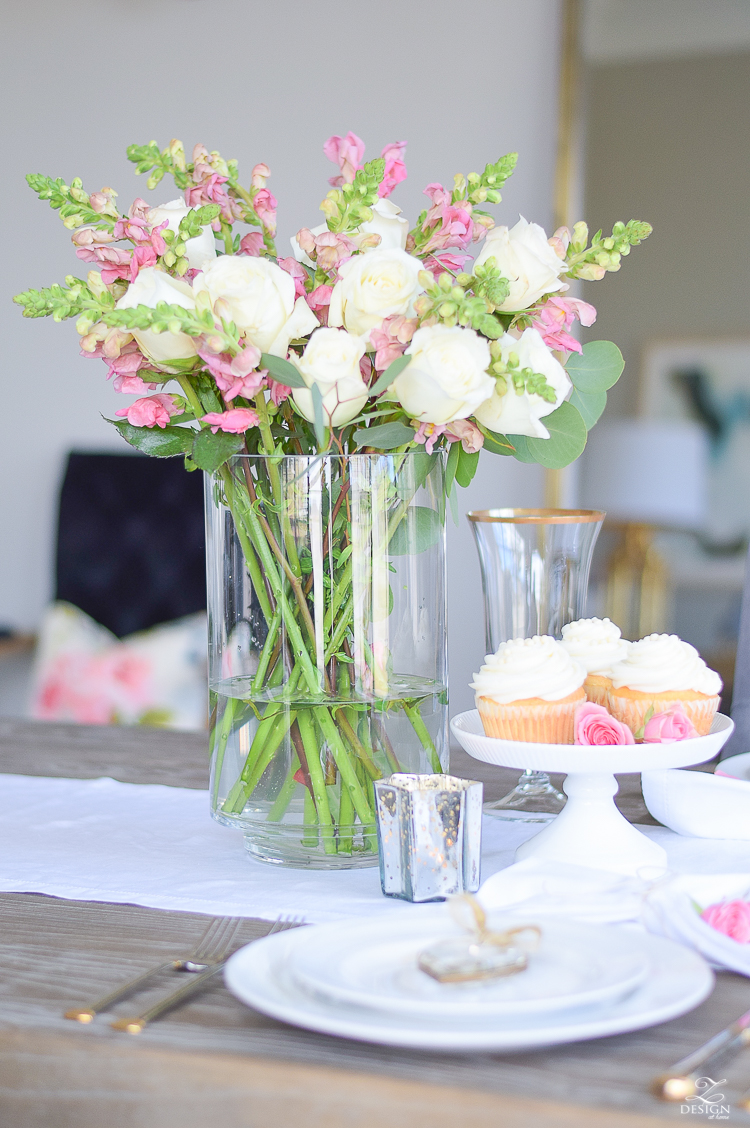 Valentines Tablescape white roses pink snap dragons white cup cakes-1
