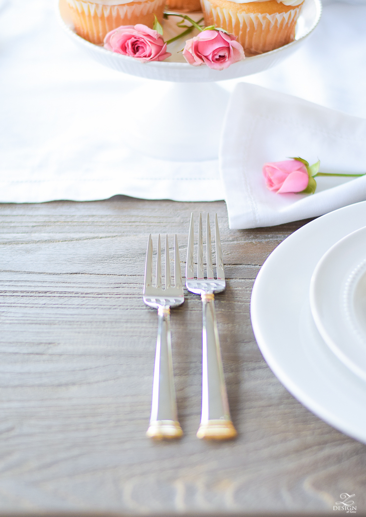 Valentines tablescape with eternal gold flatware gray washed table white roses pink snap dragons pink petite roses-1