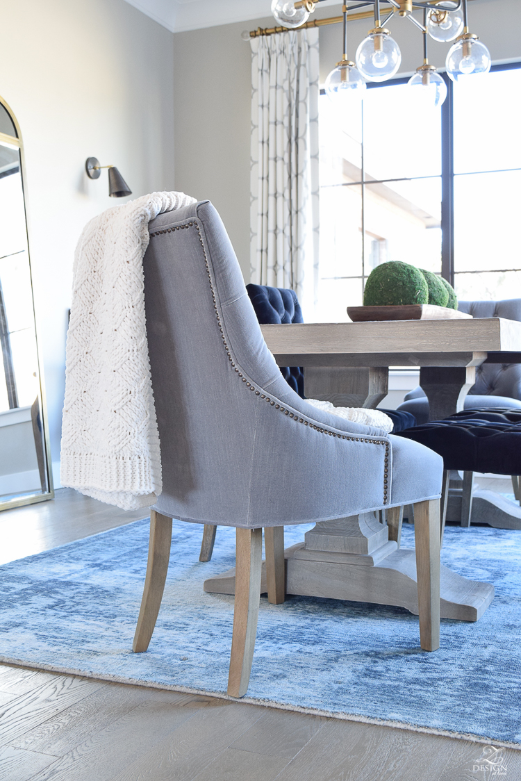 gray velvet dining chair with nail heads blue washed vintage inspired rug kravet riad drapes drapes sherwin williams mindful gray -1
