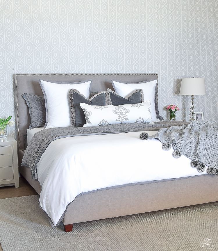 how to make a bed white and gray bedroom velvet bedding accent wall behind bed pom pom throw-1