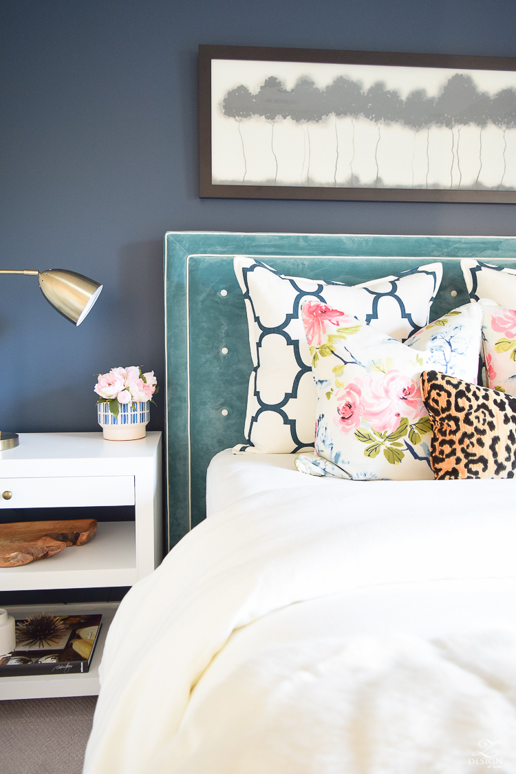 teal blue velvet tufted headboard navy blue wall sherwin williams gentlemans gray paint-2