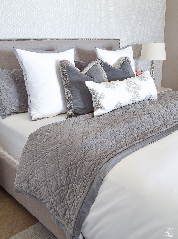 transitional modern gray and white bedroom how to make a bed pom pom throw fur trim pillows velvet bedding gray linen upholstered headbaord thibaut geometric wallpaper-2