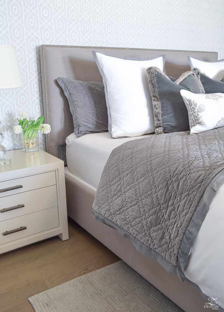 Transitional Modern Gray And White Bedroom How To Make A