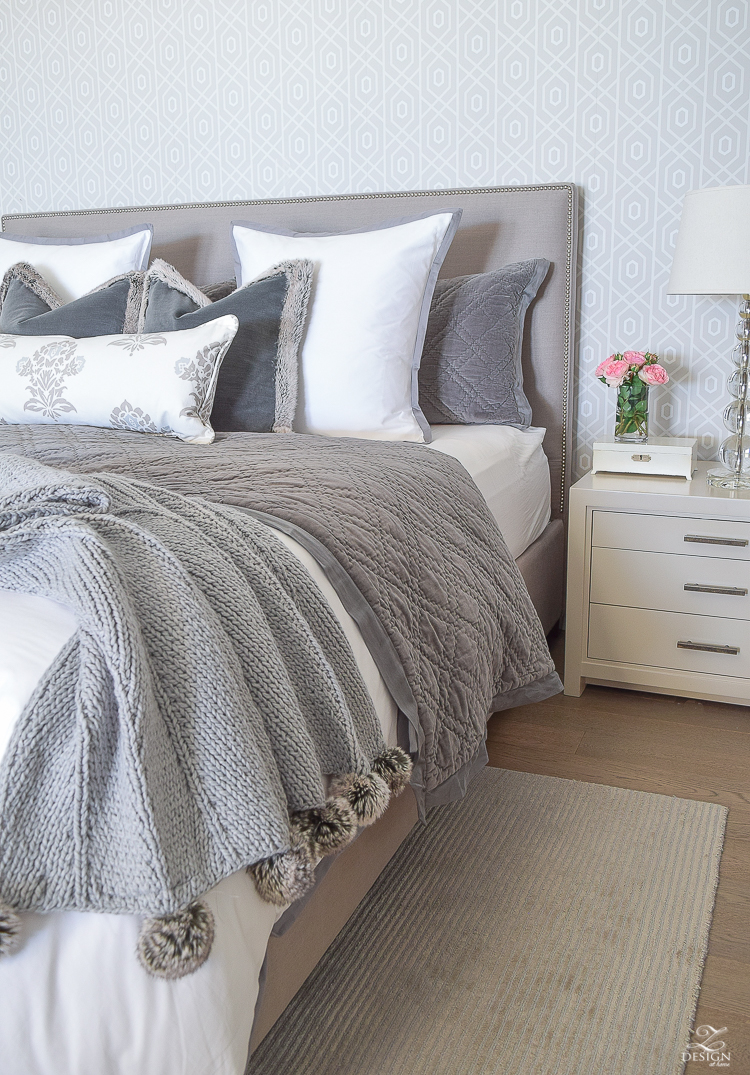 transitional modern gray and white bedroom how to make a bed pom pom throw fur trim pillows velvet bedding gray linen upholstered headbaord thibaut geometric wallpaper-4