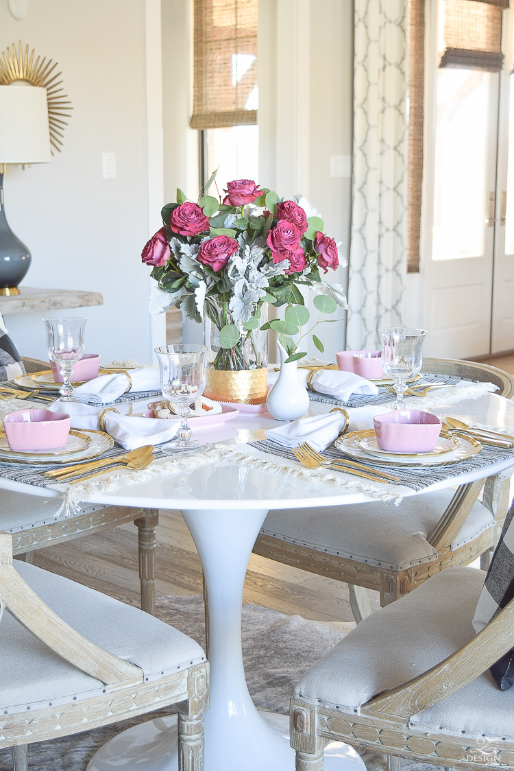 valentines table scape valentines brunch white gold rimmed dishes tulip table buffalo check pillows sherwin williams on the rocks -1