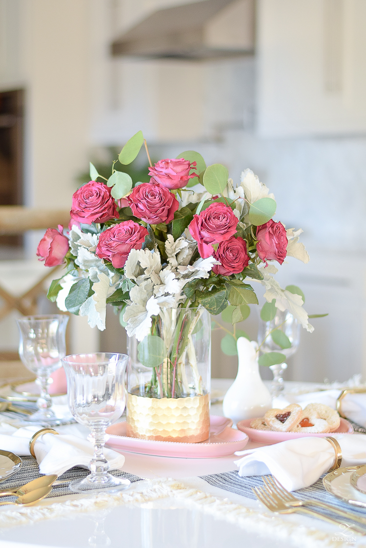 alentines table scape valentines brunch white gold rimmed dishes tulip table buffalo check pillows sherwin williams on the rocks