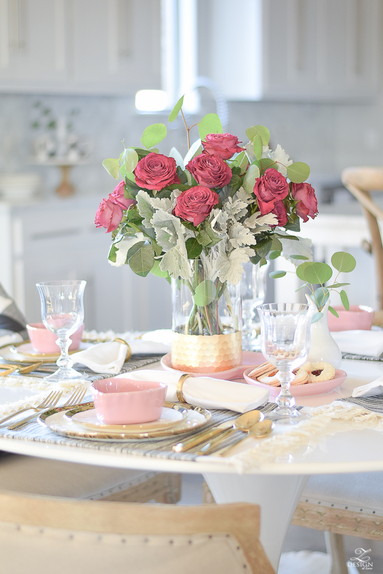 valentines table scape valentines brunch white gold rimmed dishes tulip table buffalo check pillows sherwin williams on the rocks -14