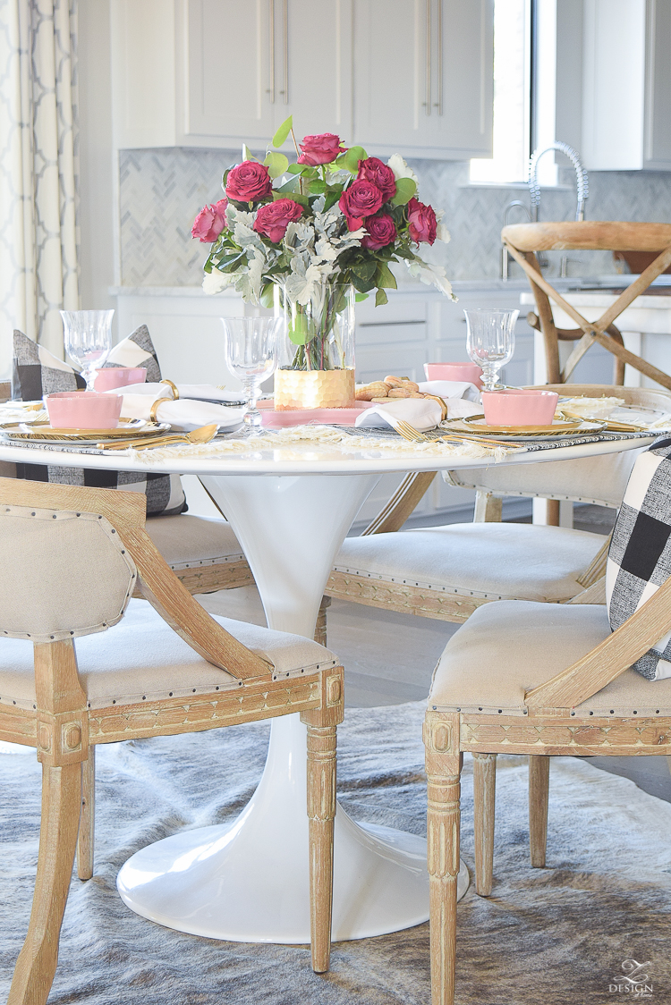 valentines table scape valentines brunch white gold rimmed dishes tulip table buffalo check pillows sherwin williams on the rocks -4