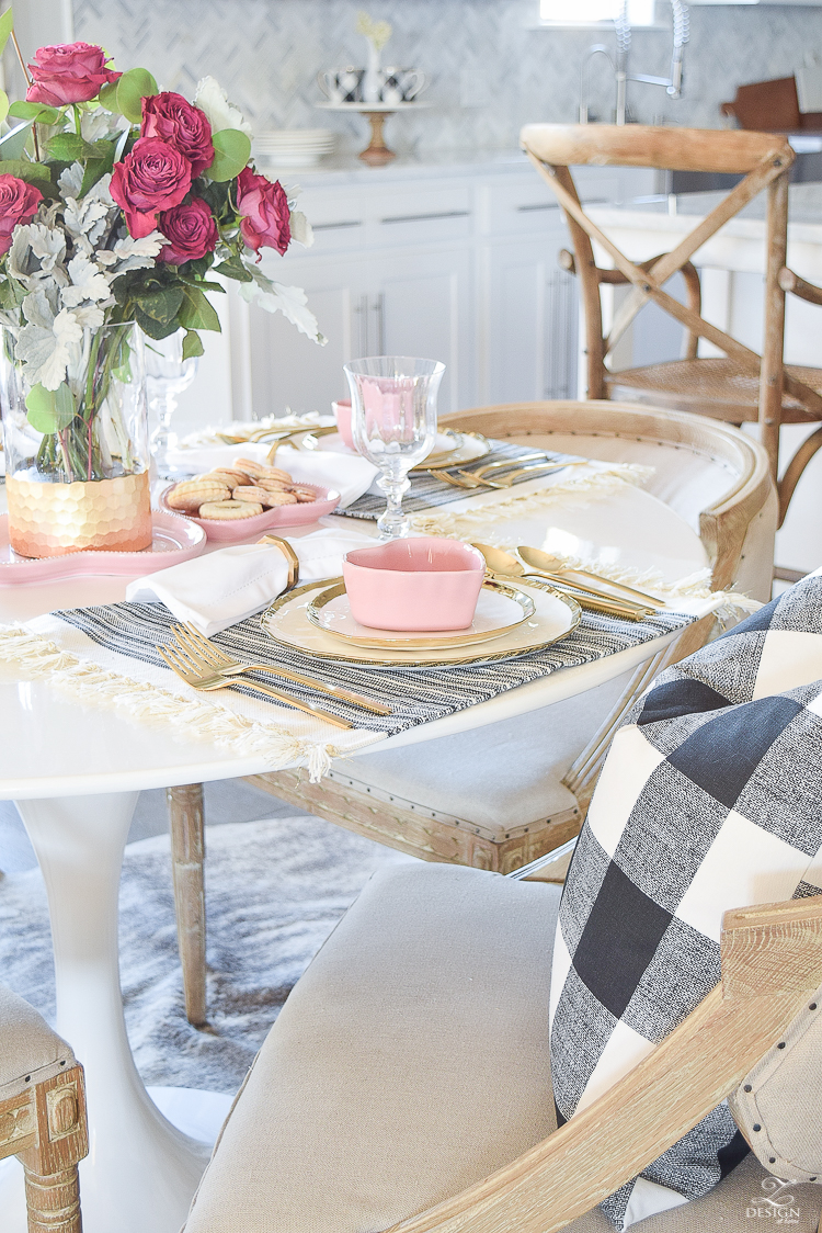 valentines table scape valentines brunch white gold rimmed dishes tulip table buffalo check pillows sherwin williams on the rocks -5