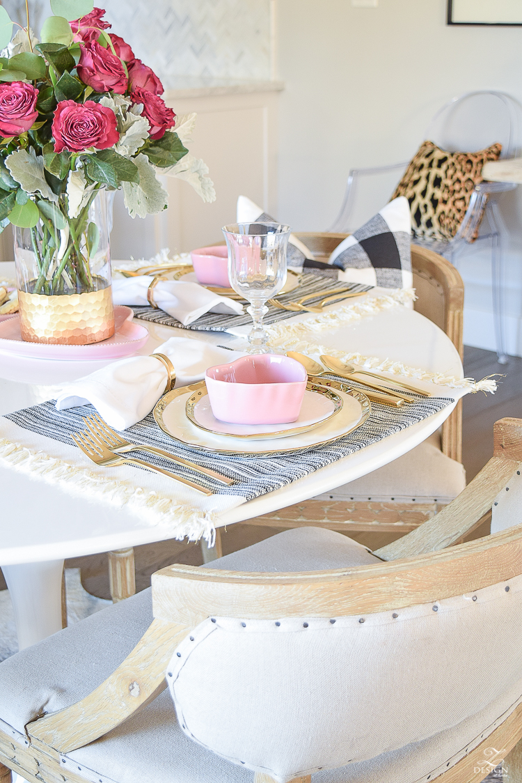 valentines table scape valentines brunch white gold rimmed dishes tulip table buffalo check pillows sherwin williams on the rocks -6