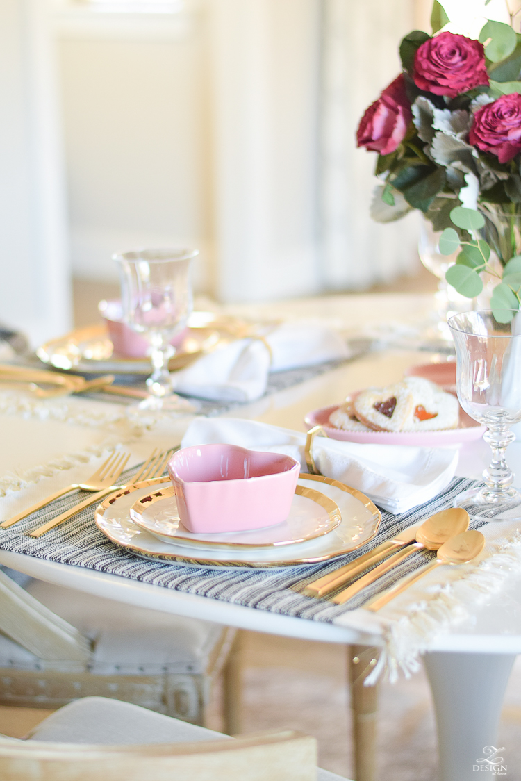 valentines table scape valentines brunch white gold rimmed dishes tulip table buffalo check pillows sherwin williams on the rocks -8