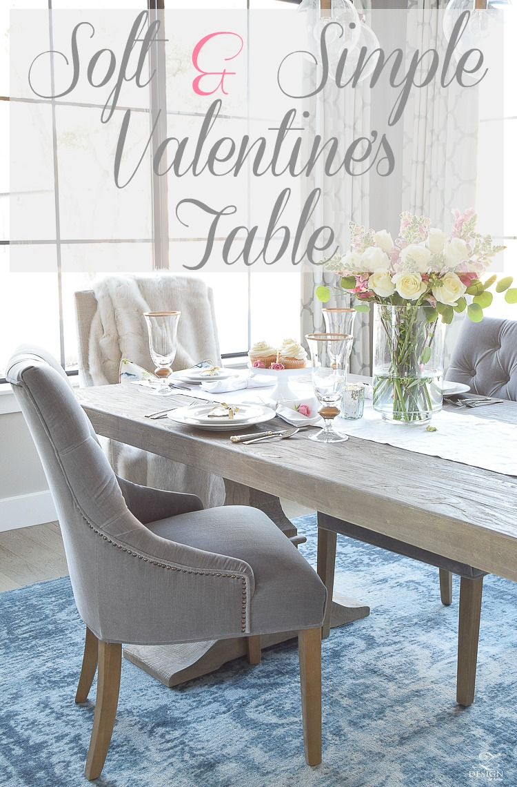 valentines table scape with white and pink roses pink snap dragons gray washed dining table white dishes eternal gold flatware-pg