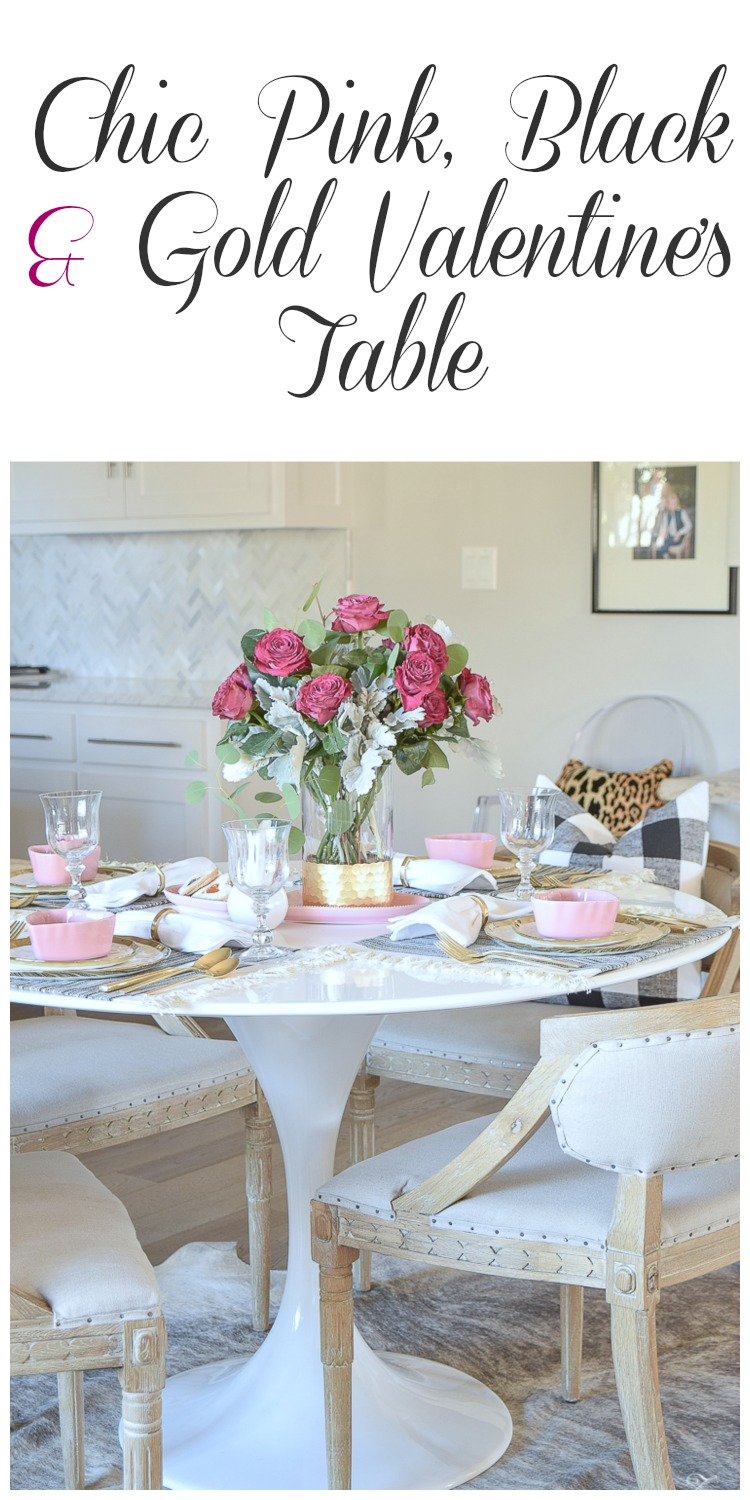 Chic pink, black and gold Valentine's Table