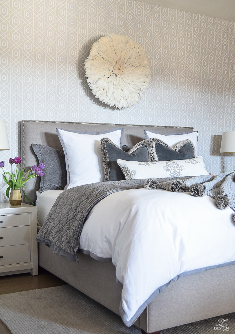 Juju boutik bamileke Feather Headress over the bed in white and gray transitional style bedroom-2