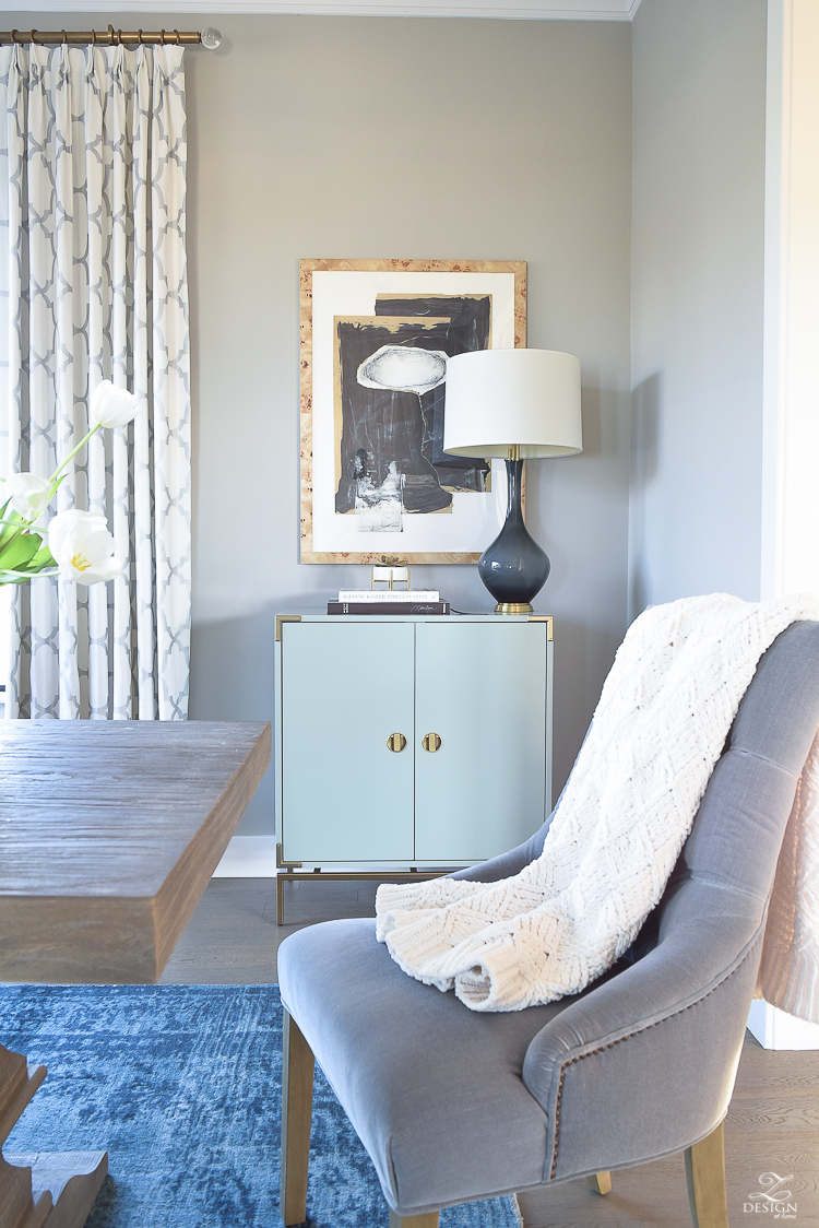 Minted art Hovering Union by Misty Hughes transitional style dining room mindful gray paint aqua and brass bar cabinet kravet raid drapes in silver-2