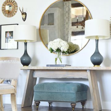 Nordstrom Winter Sale Finds gray lamps with brass base teal tufted ottoman round gold mirror