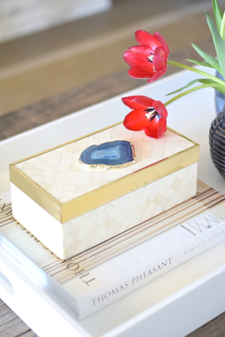 bone inlay box with agate accessory spring decor red tulips