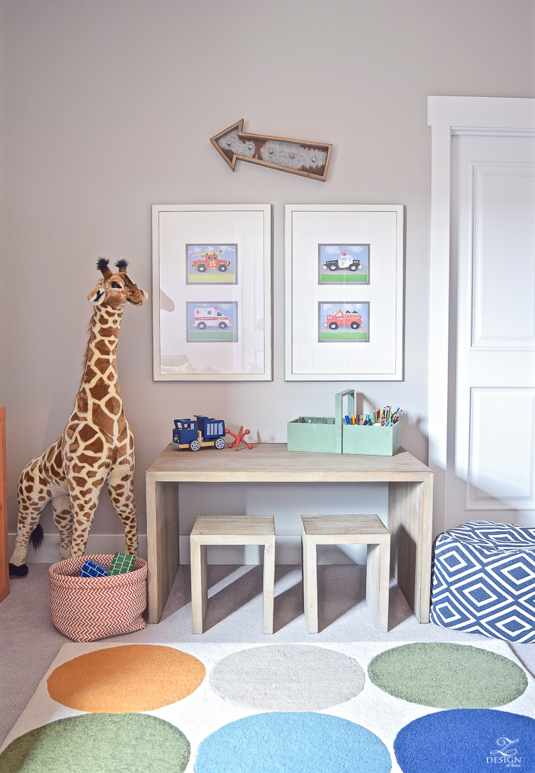 boys playroom car art melissa and doug giraffe restoration hardware play craft table -1