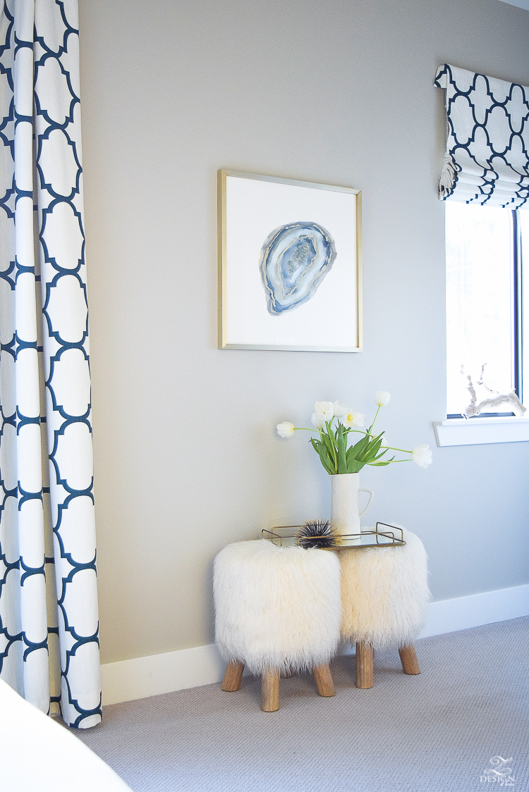 minted art aqua agate by amy lighthall artist fur stools kravet riad drapes in navy colonade gray paint gray carpet-2