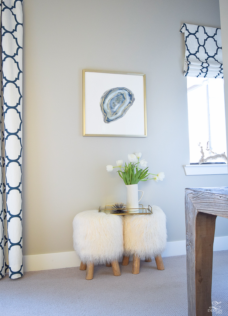 minted art aqua agate by amy lighthall artist fur stools kravet riad drapes in navy colonade gray paint gray carpet-4