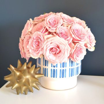 spring decor updating tips pink roses blue and white modern tribal vase