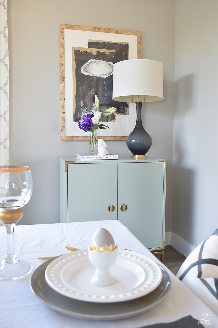 Modern easter tablescape modern golden eggs chic easter decor minted art artisan hardware barn doors-4