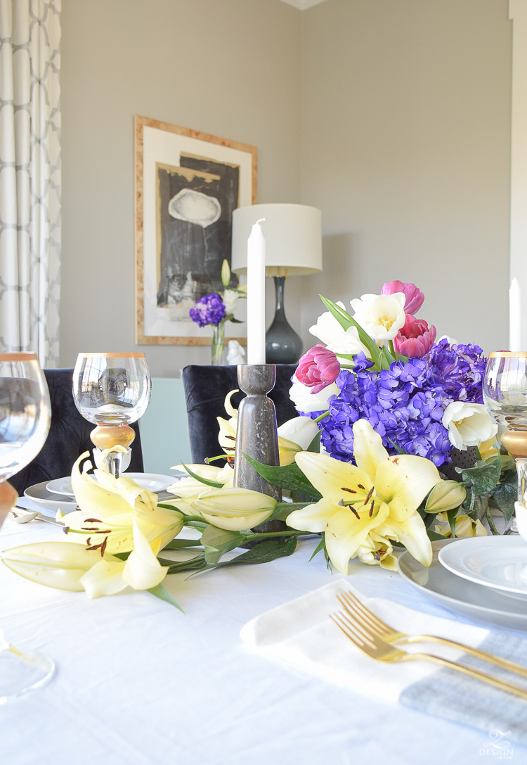 marble candle holdersModern easter tablescape modern golden eggs chic easter decor yellow lillies minted art