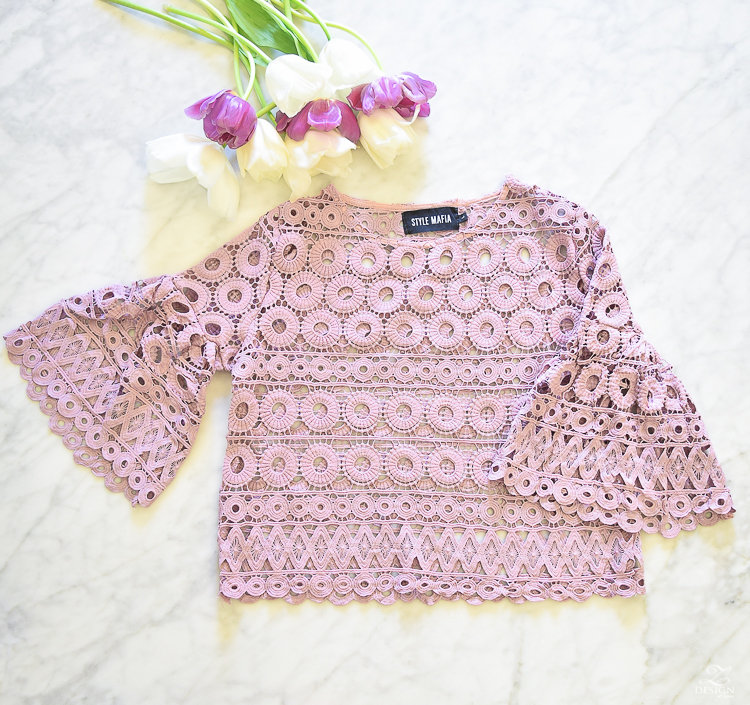 Pink style mafia perferated eyelet blouse cropped pink blouse pink eyelet top-1