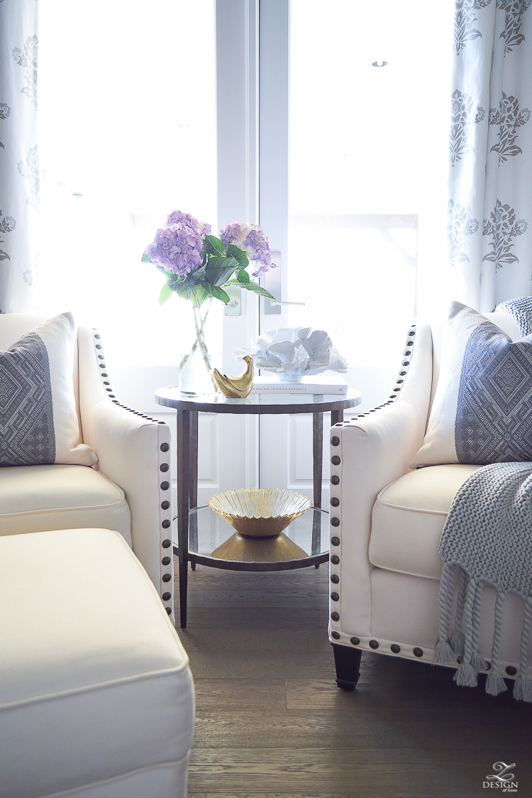 Spring decor white and gray bedroom sitting area spring accessoreis Spring home tour-1