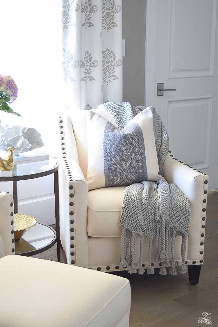Spring decor white and gray bedroom sitting area spring accessories Spring home tour-3
