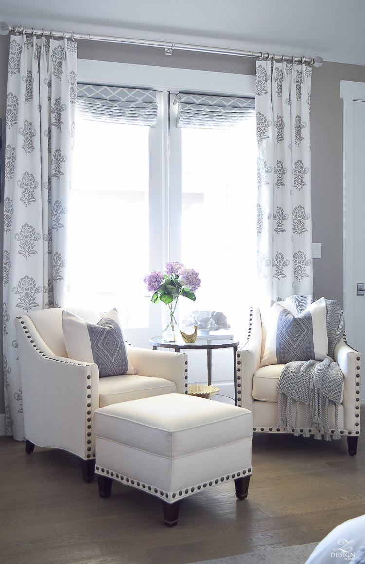 Spring decor white and gray bedroom sitting area spring accessoreis Spring home tour-4