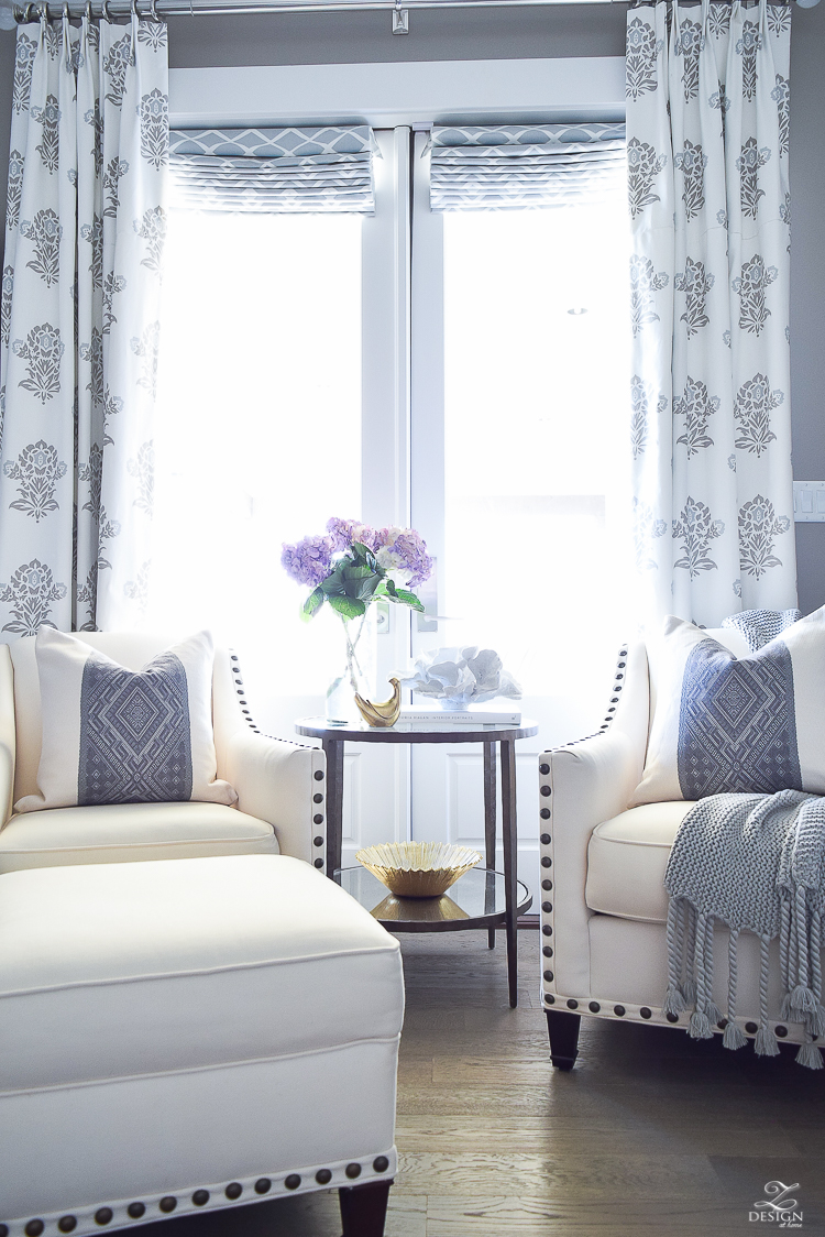 Spring decor white and gray bedroom sitting area spring accessoreis Spring home tour-5