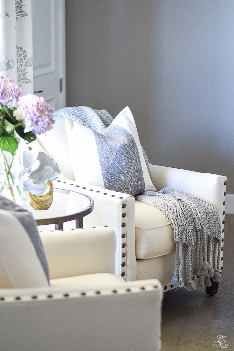 Spring decor white and gray bedroom sitting area spring accessoreis Spring home tour-8