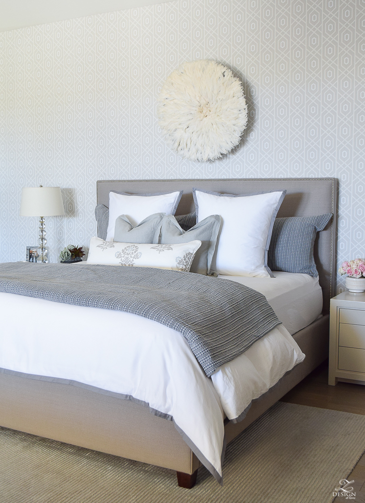 Spring home tour of a transitional master bedroom white and gray bedroom thibuat geometric wallpaper tips for a spring refresh -1