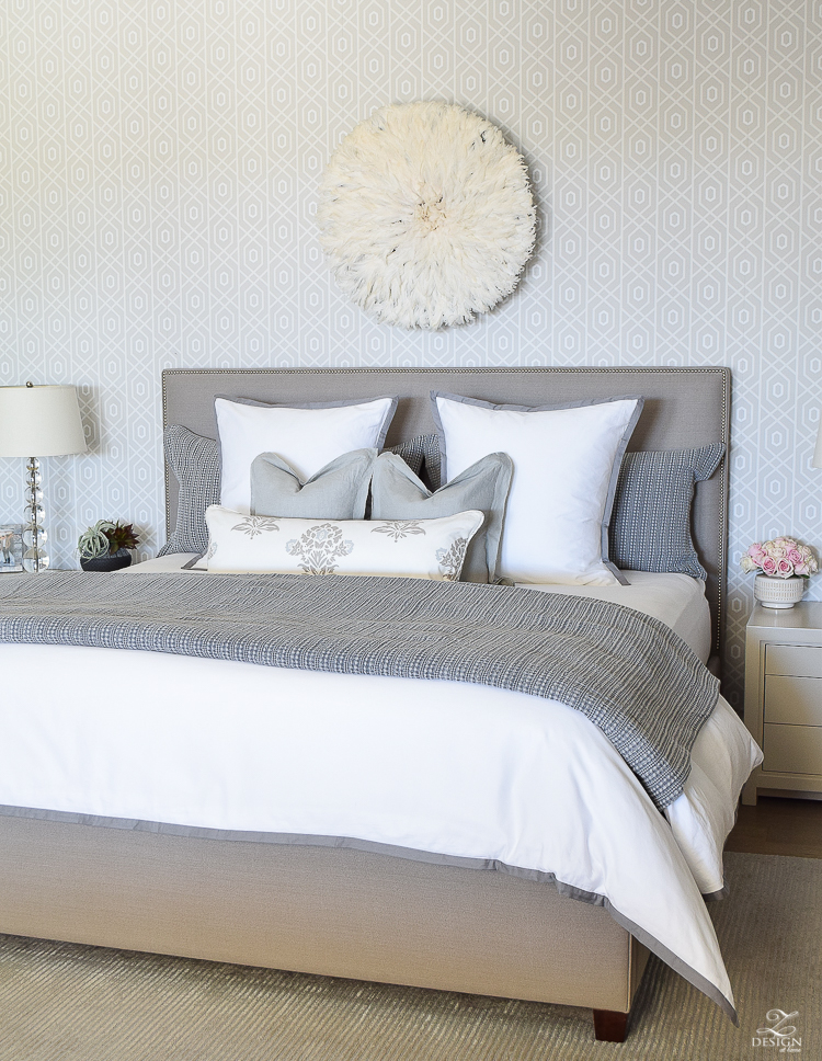 Spring home tour of a transitional master bedroom white and gray bedroom thibuat geometric wallpaper tips for a spring refresh -2