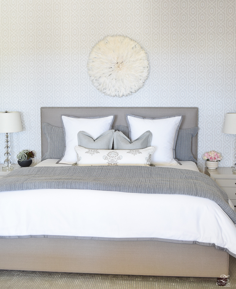 Spring home tour of a transitional master bedroom white and gray bedroom thibuat geometric wallpaper tips for a spring refresh -3