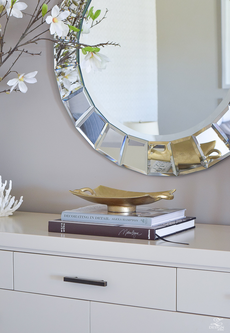 ZDesign At Home Spring Home Tour A Stroll Through Life Spring decor accessories gold tray on books-1