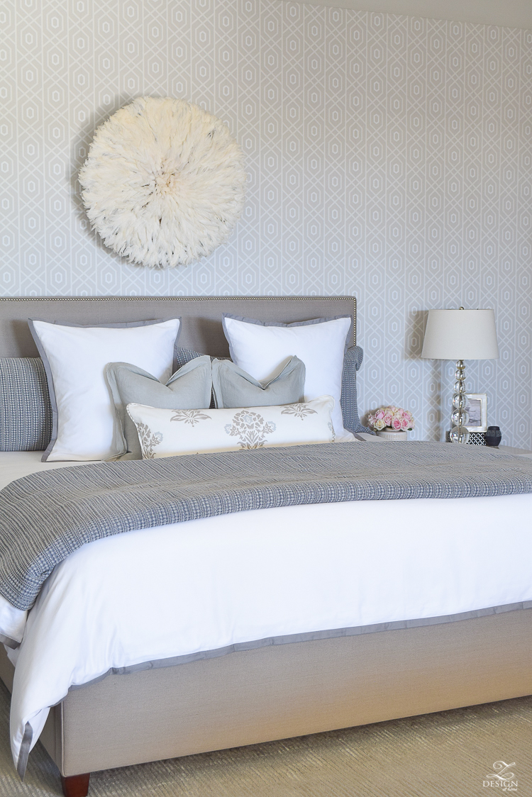 ZDesign At Home Spring Home Tour White and gray transitional bedroom geometric wallpaper white border frame bedding spring accessories -5