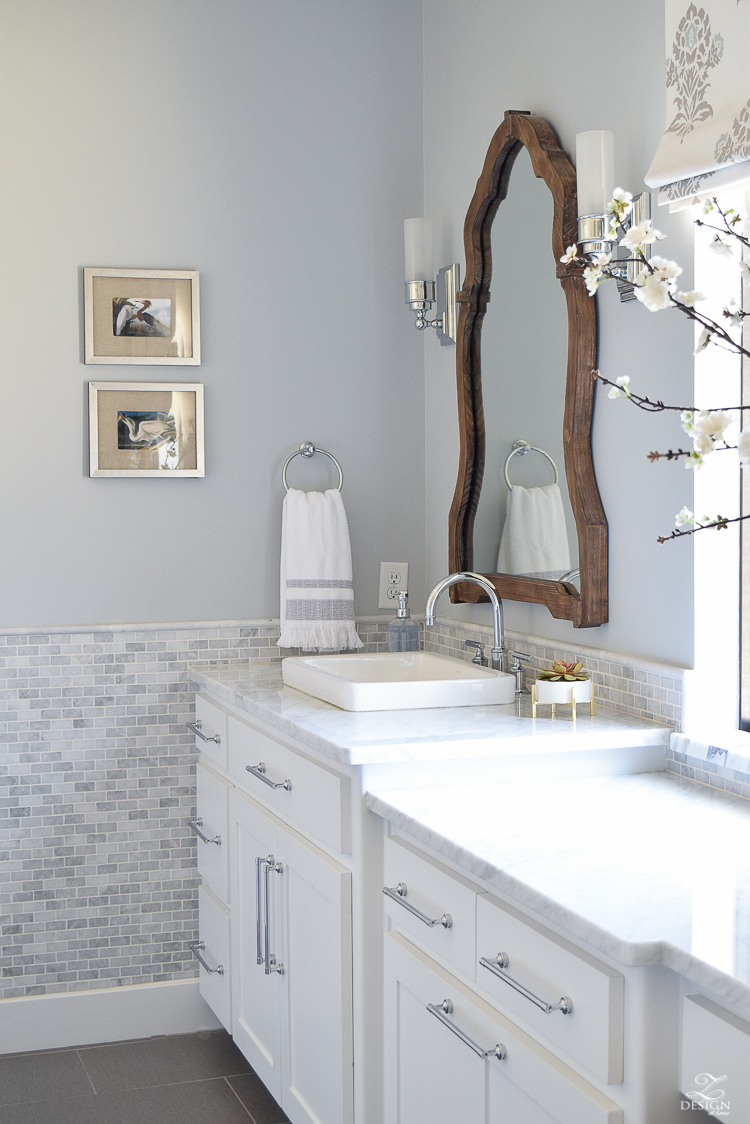 ZDesign At Home Spring Tour white carrar marble white cabinets benjamin moore silver lake paint marble backsplash-1-2