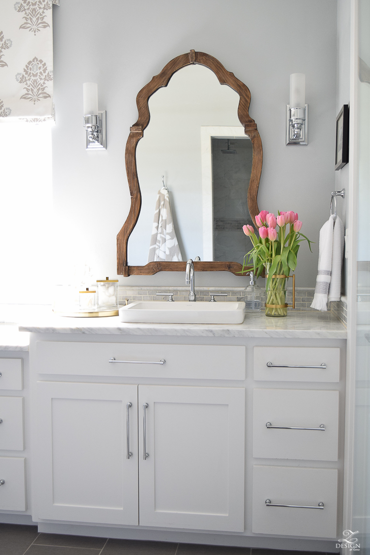 ZDesign At Home Spring Tour white carrar marble white cabinets benjamin moore silver lake paint marble backsplash-1
