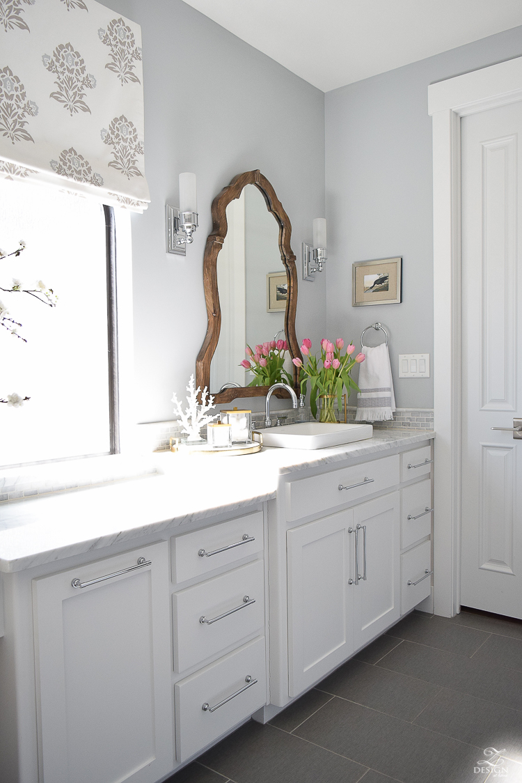 ZDesign At Home Spring Tour white carrar marble white cabinets benjamin moore silver lake paint marble backsplash-3