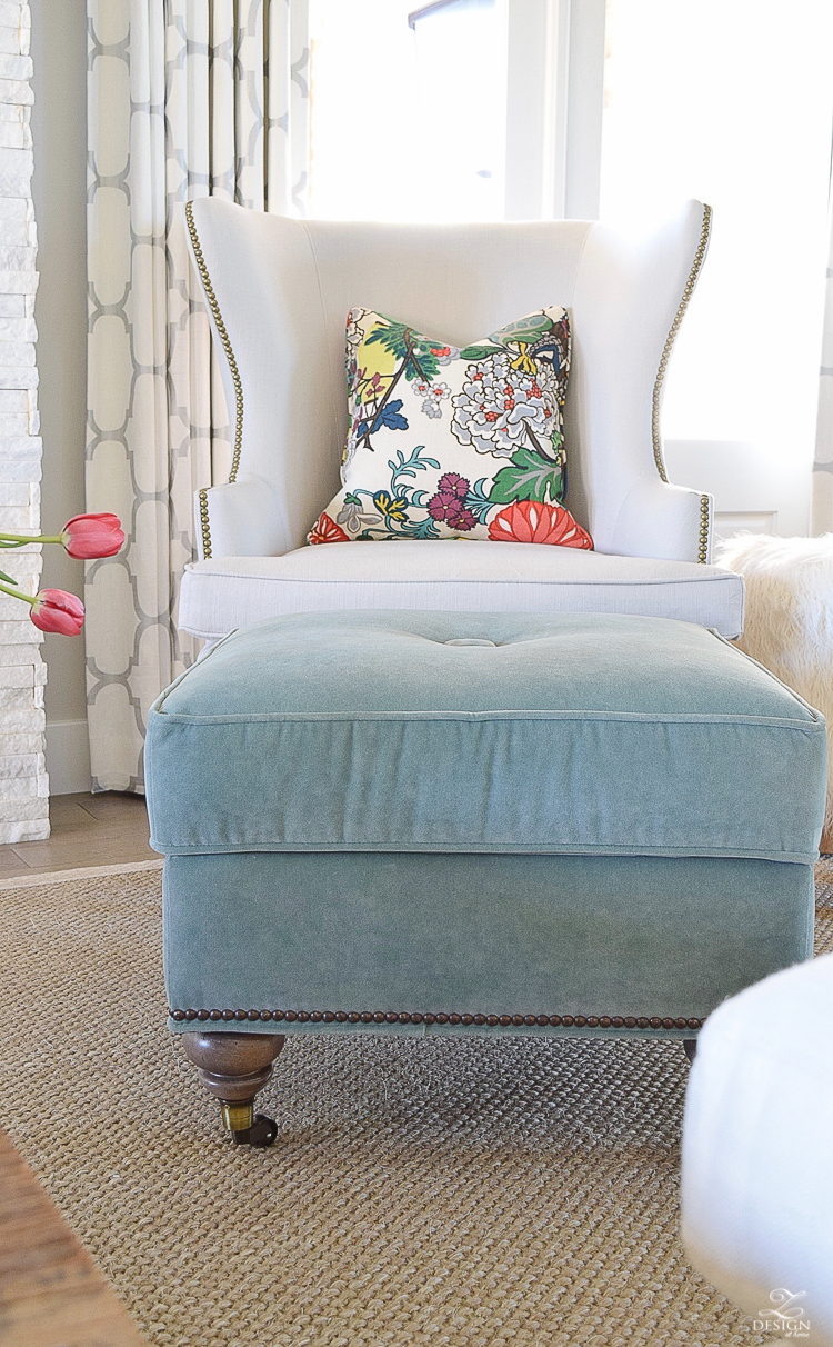 ZDesign how to update a tradtional chair teal tuffed ottoman with casters chiang mia dragon fabric pillow kravet riad drapes-1