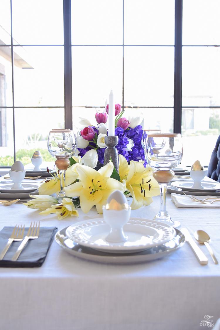 elegant moder easter table scape chic easter decor linen table cloth and napkins easter egg holders-1