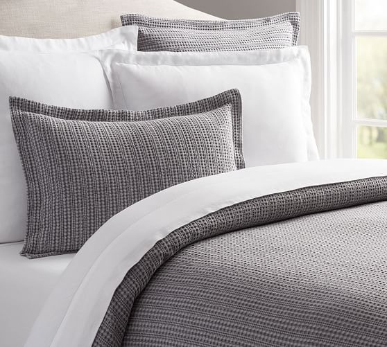gray duvet from pottery barn with honeycomb pattern