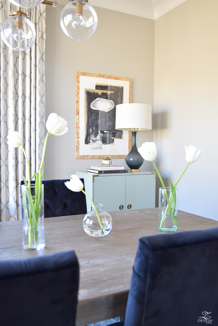 minted art hovering union by misty hughs framebridge burl wood frame gray washed table white tulips gray lamp with brass base kravet riad curtains SW mindful gray paint-1