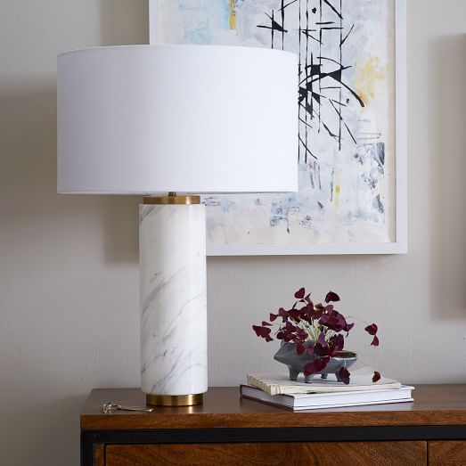 brass and marble table lamp with white linen shade