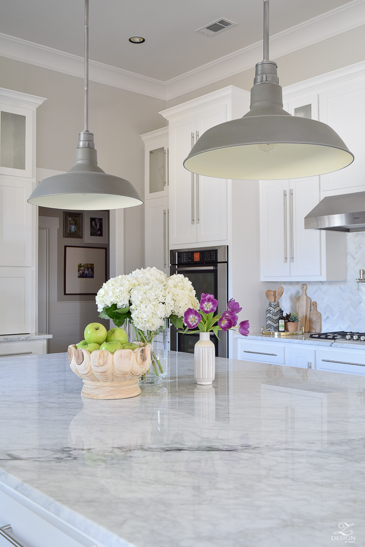 white farmhouse kitchen zdesign at home spring tour vintage barn pendants caitlin wilson rugs gray wood floors white cabinets SW on the rocks paint-6