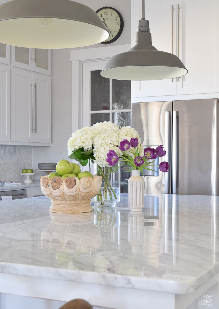 zdesign at home spring home tour modern white farmhouse kitchen carrara marble counter tops white shaker cabinets vintage barn pendants white hydrangeas-1