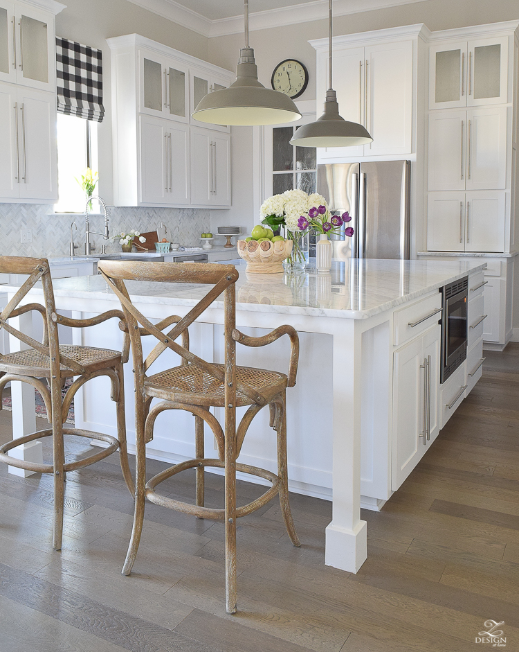 zdesign at home spring home tour modern white farmhouse kitchen carrara marble counter tops white shaker cabinets vintage barn pendants white hydrangeas-2