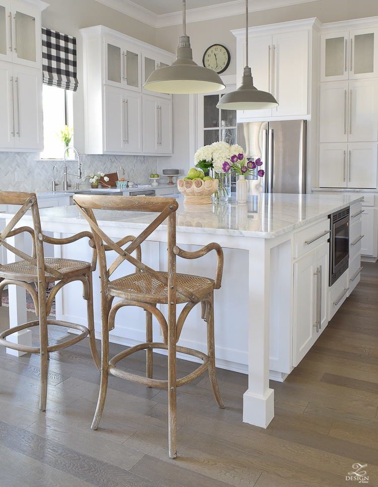zdesign at home spring home tour modern white farmhouse kitchen carrara marble counter tops white shaker cabinets vintage barn pendants white hydrangeas-6